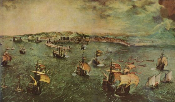 Bruegel the Elder, Pieter: Naval Battle in the Gulf of Naples. Fine Art Print/Poster. Sizes: A4/A3/A2/A1 (00871)